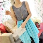 เดรสแขนกุดกระโปรงชีฟองสีฟ้า JackGrace irregular flow line ~ chiffon mixed colors vest, skirt