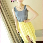 เดรสแขนกุดกระโปรงชีฟองสีเหลือง JackGrace irregular flow line ~ chiffon mixed colors vest, skirt