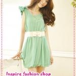 เดรสชีฟองแขนกุดประดับโบว์ที่ไหล่สีเขียว Spring and summer of 2012 the new Women Korean sweet lady bow chiffon dress + belt