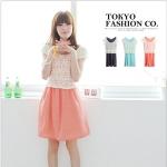 [Preorder] เดรสแฟชั่นแขนกุดลายจุดพร้อมเสื้อคลุมลูกไม้ลายดอกไม้ สีพีช Fence dot two-piece dress