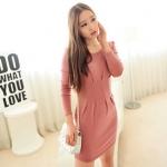 [Preorder] เดรสทำงานแฟชั่นแขนยาวสำหรับสาวไซส์เล็ก สีชมพู 2013 winter new Korean Women long-sleeved knit dress waist hems fresh