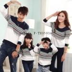 ชุดครอบครัว พ่อแม่ลูก เสื้อครอบครัวแขนยาวลายกราฟฟิก สีกรม (ราคา 3 ตัว พ่อ แม่ ลูก) - pre order