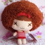 ตุ๊กตาหัวหยิก ตุ๊กตาตัวเล็ก ขนาด 20 CM ลาย ตากากบาท