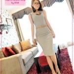 [Preorder] เซ็ทเสื้อแขนกุด + กระโปรง + เข็มขัด สีเทา JackGrace suit! Practical Slim T + package hip skirt to send the belt four-color