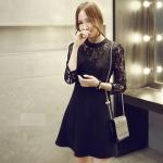 [Preorder] เดรสแฟชั่นแขนยาวสไตล์เกาหลีกระโปรงบาน สีดำ (ไซส์ S M L XL) US grapefruit 2015 new spring clothing Slim thin long-sleeved lace dress female