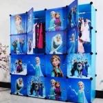 ตู้ DIY ลายการ์ตูน Frozen ข้างตู้มีสีชมพู//ฟ้า//แดง/ขาวใสลายเส้น ขนาดช่องละ 37x37 ซม. รับน้ำหนักได้ช่องละประมาณ 10-15 กิโลกรัม (ขนาด 12 และ 16 แถมชั้นวางรองเท้า)