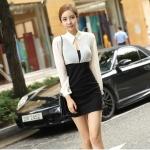 เดรสแฟชั่นเกาหลีเสื้อแขนยาวคอปก สีขาว+ตัวชุดด้านในเสื้อแขนกุดเข้ารูปสีดำ สินค้าตามแบบคะ