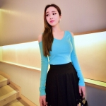 [Preorder] เสื้อแฟชั่นแขนยาวคอวีเปิดไหล่ สำหรับสาวไซส์เล็ก สีเขียว (ไซส์ S M) 2014 spring new Korean fashion Slim sexy strapless long-sleeved t-shirt