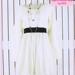 [Preorder] เดรสแฟชั่นลูกไม้แขนยาวสีขาว Korean new Women in the 2012 Spring and Autumn Japanese sweet lace velvet mesh long-sleeved dress