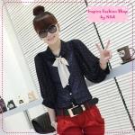[Preorder] เสื้อแฟชั่นแขนยาวลายจุดสีน้ำเงิน 2012 new summer Korean wave point doll with chiffon shirt collar Department (3 colors)