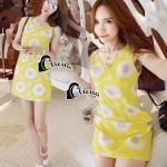 mini dress สีเหลืองแขนกุด ปักลายดอกไม้สีเหลือง