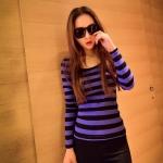[Preorder] เสื้อแฟชั่นแขนยาวลายขวาง สำหรับสาวไซส์เล็ก สีม่วง 2014 spring new Korean fashion color stripes Slim long-sleeved t-shirt