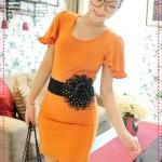 เดรสแขนสั้นเปิดหลังสีส้ม JackGrace fungus sleeve ~ back hollow lace dress