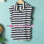 เสื้อแฟชั่นแขนกุดลายขวางสีขาวน้ำเงิน Summer new female Korean fashion stripes lapel Sleeveless Slim shirt wild casual shirts