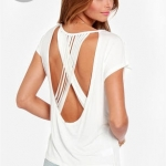 [Preorder] เสื้อแฟชั่นแขนสั้นสายไขว้หลัง สีขาว (ไซส์ XS - XXL) Multi-strand cross back straps solid round neck short bat sleeve knit crew neck T-shirt