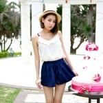 [Preorder] จั๊มสูทแฟชั่นสายเดี่ยวกางเกงขาสั้น สีน้ำเงิน 2013 summer new Korean Shopping spaghetti straps lace stitching jumpsuit shorts