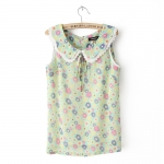 [Preorder] เสื้อแฟชั่นแขนกุดลายดอกไม้ สีเขียว Early summer T-shirt new summer sweet pastoral style sunflowers doll sleeveless vest shirt collar shirt bottoming shirt