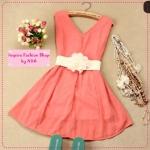 [Preorder] เดรสออกงานแฟชั่นคอวีแขนกุดสีชมพู 2012 summer new Korean version shiny zipper natural Jane chiffon vest dress