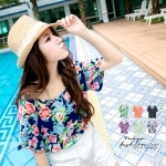 [Preorder] เสื้อแฟชั่นแขนสั้นลายดอกไม้ แบรนด์ Tokyo Fashion สีน้ำเงิน Camouflage flowers elastic wide collar T-shirt Blue flowers
