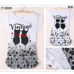 [Preorder] เสื้อยืดแฟชั่นแขนสั้นสกรีนลายแมวคู่วินเทจ Junior high school students every day special summer youth academy cute cartoon style girl T-shirt