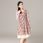 [Preorder] เดรสแฟชั่นแขนยาวลูกไม้ลายดอกไม้เก๋ๆ สีน้ำตาล 2013 spring models Women Korean version of the high waist long-sleeved lace retro floral princess dress