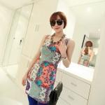 [Preorder] เดรสแฟชั่นแขนกุดสำหรับสาวไซส์เล็ก ลาย section สีชมพู 2013 summer new super wild multicolor Korean Women Long Vest