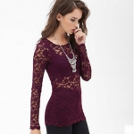 [Preorder] เสื้อลูกไม้แฟชั่นแขนยาวสไตล์ยุโรป สีม่วง (ไซส์ XS S M L XL XXL) European and American Fan RICHCOCO rose pattern wave edge hem through a sense of self sleeved lace shirt