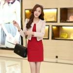[Preorder] เดรสทำงานแฟชั่นแขนกุดสีแดง + เสื้อสูททำงานแขนยาวสีเบจ (ไซส์ M L XL XXL) As early as 2014 Hitz female long-sleeved suit was thin waist dress large size women bottoming vest skirt package hip