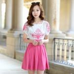 [Preorder] เดรสแฟชั่นแขนสั้นกระโปรงบาน ปักลายเก๋ๆ สีชมพู (ไซส์ S M L XL 2XL) 2015 Korean version of the new women's dress Slim thin short pleated skirt embroidered chiffon dress