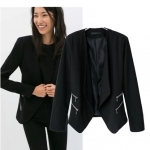 [Preorder] เสื้อสูทแฟชั่นแขนยาว แบรนด์ ZARA สีดำ (ไซส์ S M L) ZARA MICN Women 2014 Hitz Slim double zipper decoration casual blazer women suit