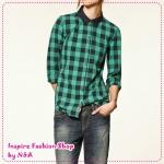 เสื้อเชิ๊ตแขนยาวแฟชั่นลายตารางสีเขียว 2012 spring and summer new European style women hit the color lapel cotton long-sleeved shirt plaid shirt