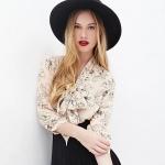 [Preorder] เสื้อเชิ๊ตแฟชั่นแขนยาวคอวีลายดอกไม้ สีเบจ (ไซส์ XS S M L XL XXL) RICHCOCO chest deep V-neck sexy lace bow flower pattern printed chiffon shirt sleeve