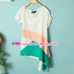 เสื้อแฟชั่นแขนสั้นผูกข้าง Summer new female fashion Korean spell color round neck T-shirt, the irregular wild leisure personality fashionable T-shirt