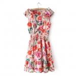 [Preorder] เดรสแฟชั่นแขนกุดแบรนด์ Lily ลายดอกไม้สีสดใส 2013 summer new women's European and American LILY round neck sleeveless vest dress elastic waist Floral Chiffon