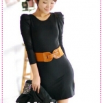 เดรสแขนยาวเข้ารูปสีดำ JackGrace intellectual interpretation! Delicate bud sleeves Slim dress
