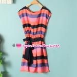 เดรสแขนกุดลายขวางสลับสี Summer new female fashion mixed colors Slim with belt dress round neck sleeveless dress