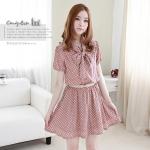 [Preorder] เดรสแฟชั่นคุณหนูแขนสั้นลายจุด สีชมพู Korea purchasing ladies sweet Korean Shuiyu bandage bow tie small breasted dress (two-color)