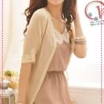เดรสชีฟอง + เสื้อคลุม hollow knitting carved sleeveless repair waist dress