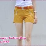 กางเกงขาสั้นแฟชั่นสีเหลืองพร้อมเข็มขัดเก๋ๆ หัวแอปเปิ้ล 2012 new Korean version of sweet lace zipper cotton shorts overalls (Free Belt)