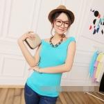 [Preorder] เสื้อแฟชั่นเปิดไหล่ สำหรับสาวหุ่นเล็ก สีเขียว 2014 summer new Korean Women Sexy neck wrap shoulder short sleeve t-shirt