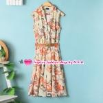เดรสแขนกุดลายดอกไม้สีส้ม Spring and summer fashion European style with a belt, sleeveless chiffon dress lapel Slim temperament vest dress