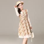 [Preorder] เดรสแฟชั่นแขนยาวลูกไม้ลายดอกไม้เก๋ๆ สีเหลืองชมพู 2013 spring models Women Korean version of the high waist long-sleeved lace retro floral princess dress