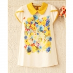 [Preorder] เสื้อชีฟองแฟชั่นแขนสั้นลายดอกไม้ สีเหลือง 2013 Summer Korean ladies fashion doll collar mixed colors printed short-sleeved chiffon shirt blouse