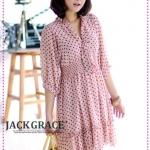 เดรสชีฟองคอวีลายจุดสีชมพู JackGrace pastoral sweet! Dot control chiffon dress