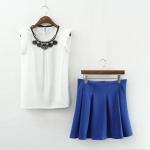 [Preorder] เซ็ทเสื้อแฟชั่นแขนกุดไหล่สีขาว + กระโปรงบานสั้นสีน้ำเงิน (ไซส์ S M L) 2015 summer new chiffon skirt suits with paragraph Slim waist shirt + tutu piece suit