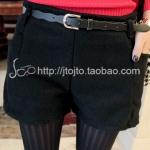 [Perorder] กางเกงขาสั้นแฟชั่น พร้อมเข็มขัดเก๋ๆ สีดำ Keren ~ 2012 new winter sweet wave belt ladies' casual pants woolen shorts