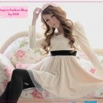 [Preorder] เดรสแฟชั่นลูกไม้แขนยาวสีเบจ Korean new Women in the 2012 Spring and Autumn Japanese sweet lace velvet mesh long-sleeved dress
