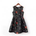 [Preorder] เดรสแฟชั่นแขนกุดสไตล์ยุโรป สกรีนลายเก๋ๆ สีดำ (ไซส์ S M L) MICN 2015 spring and summer new European style women's lips beautiful pattern vest dress sleeveless dress skirt