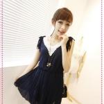 เดรสแขนกุดสีน้ำเงิน new 2012 most chain link fence collar chiffon dress