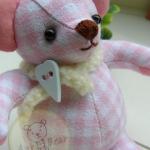 ตุ๊กตาหมีผ้าลายสก๊อตสีชมพูขนาด 9.5 cm. - Niza